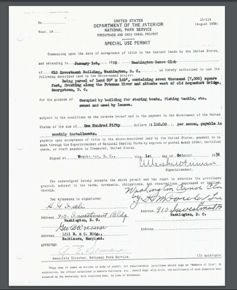Washington Canoe Club Special Use Permit 1939