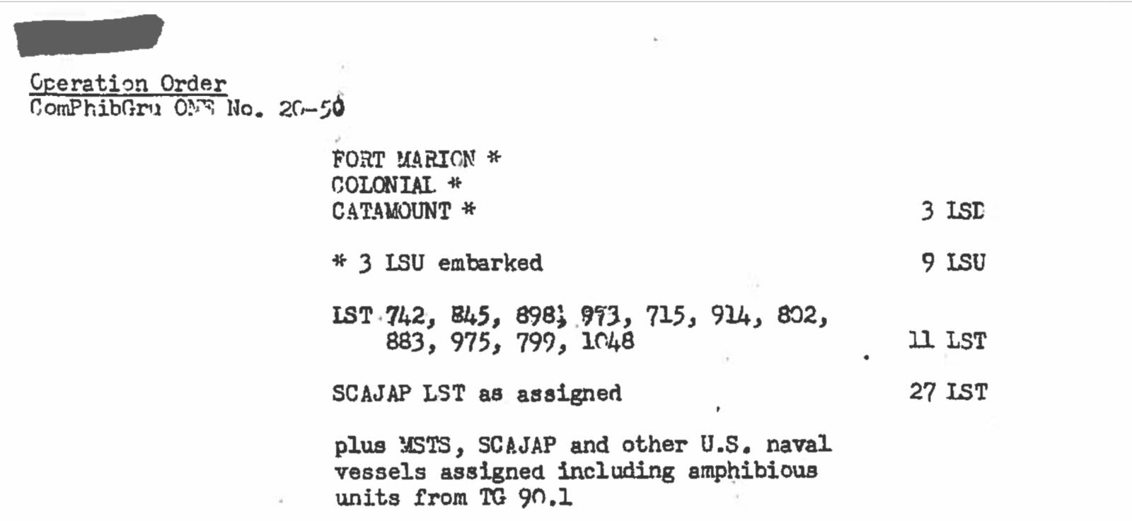 LST Section from Operations Order