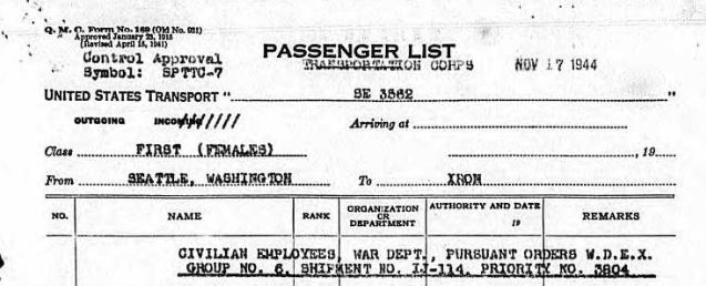 Header of Transportation Corps Passenger List 11-17-1944