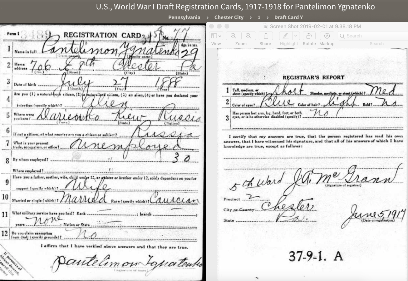 Pantelimon Ignatenko, U.S., World War I Draft Registration Cards, 1917-1918