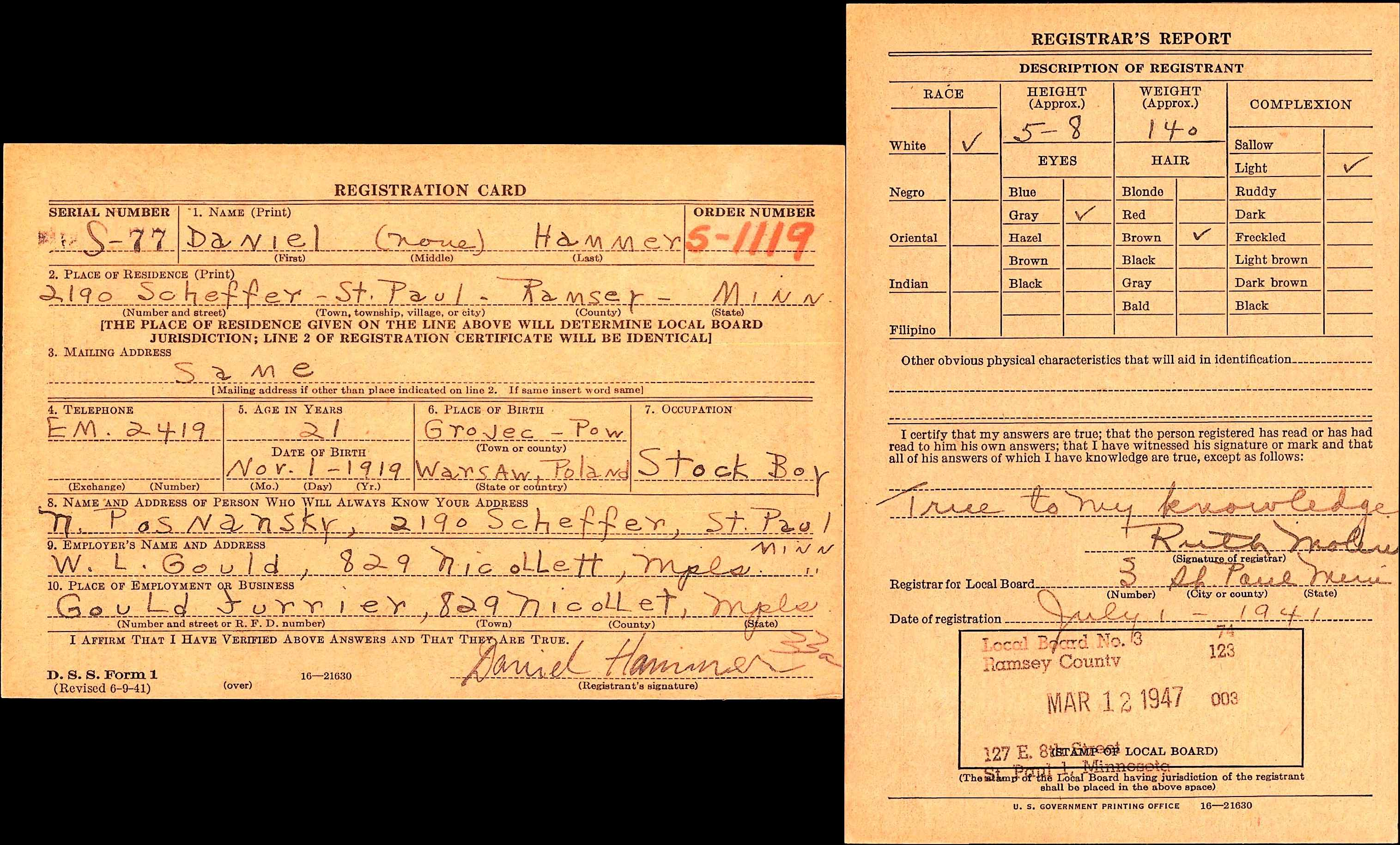draft registration card