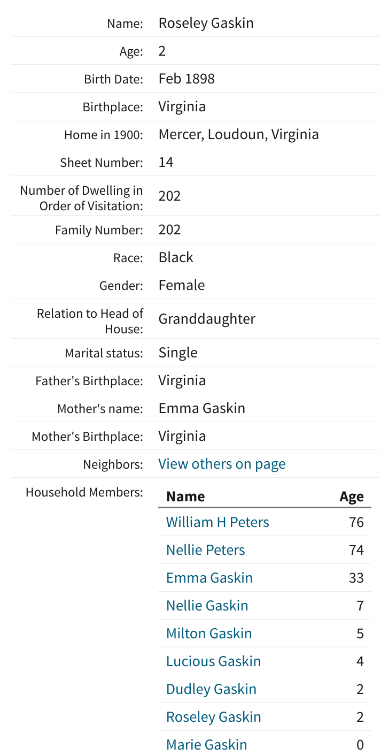1900 Census Transcription - Peters