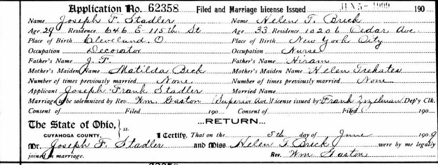 Stadler Breck Marriage Record