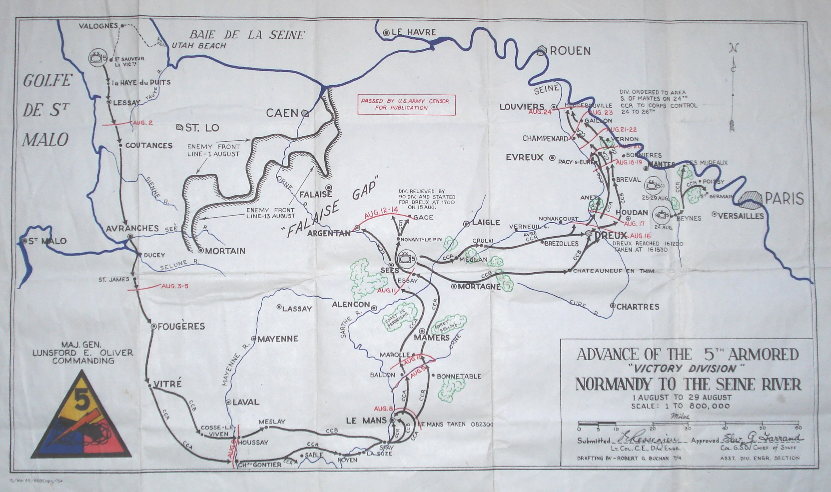5th Armored Division from Normandy to the Seine River Map from the 5th AD website