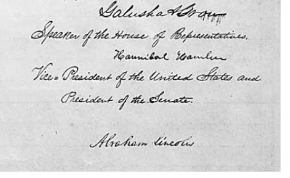 Document signed by Lincoln