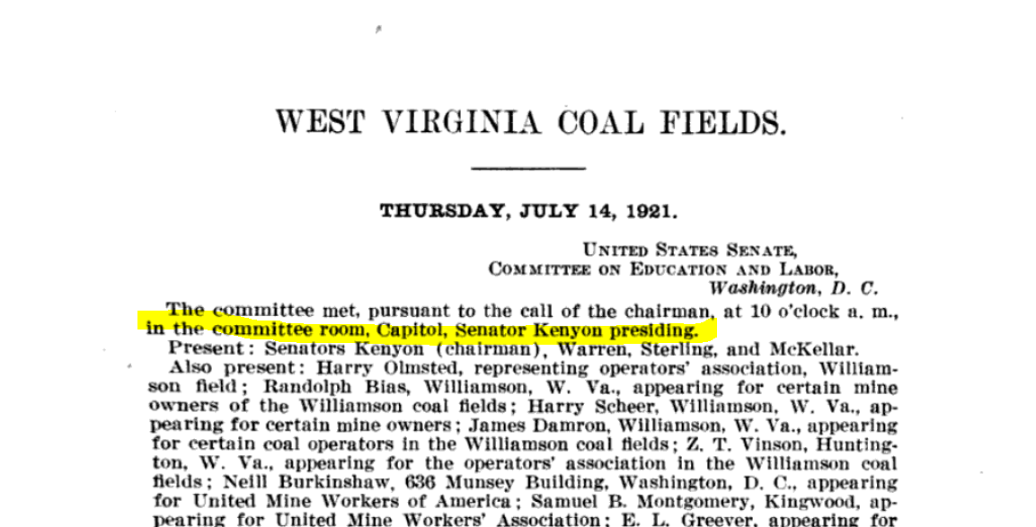first page 1921 Senate Hearings on West Virginia Coalfields