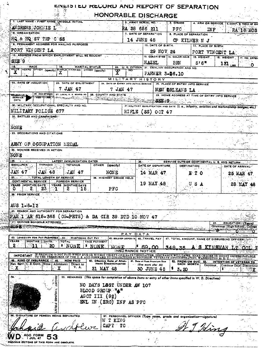 WD AGO Form 53 Discharge Papers