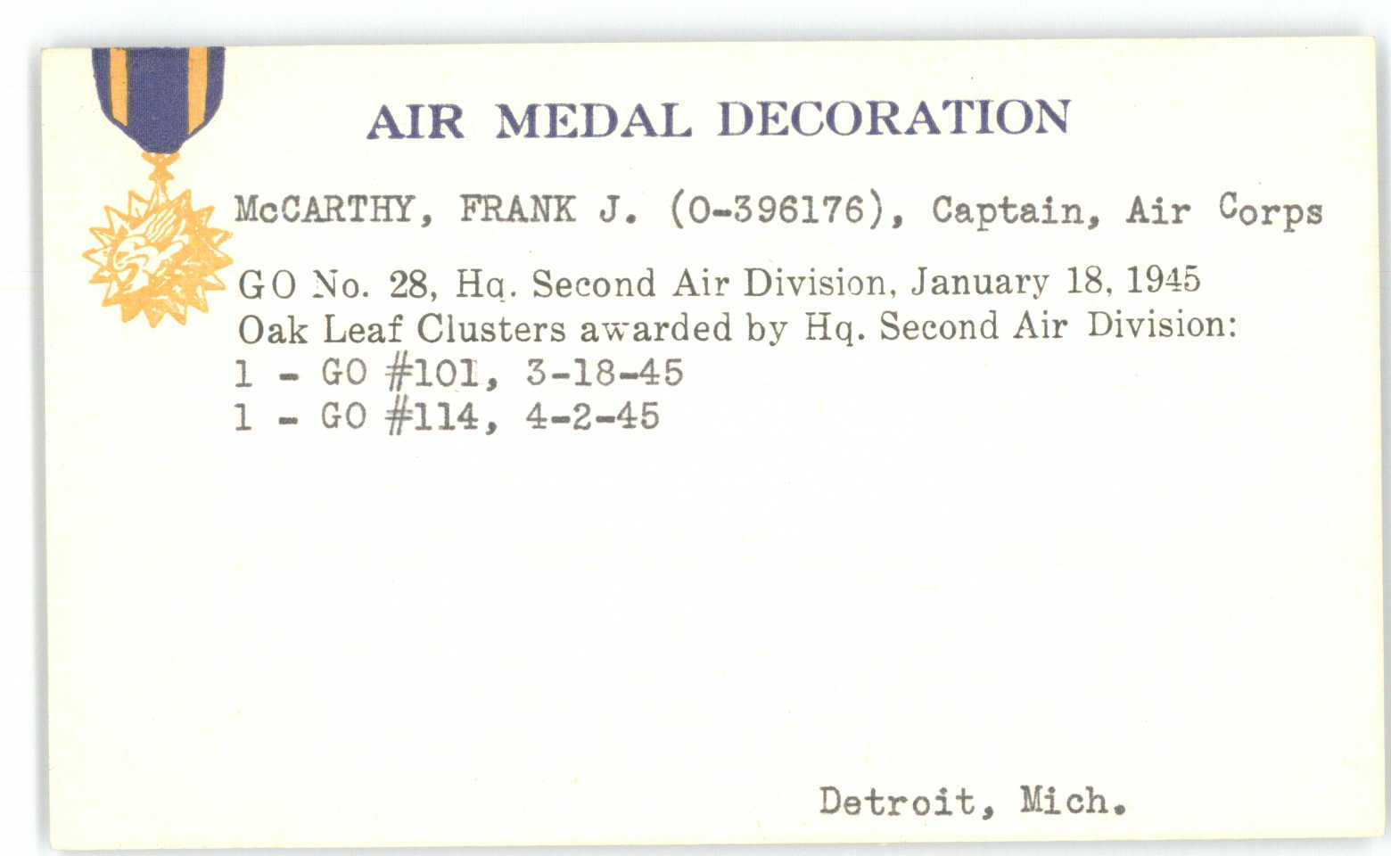 Air Medal w/2OLC, Award Card