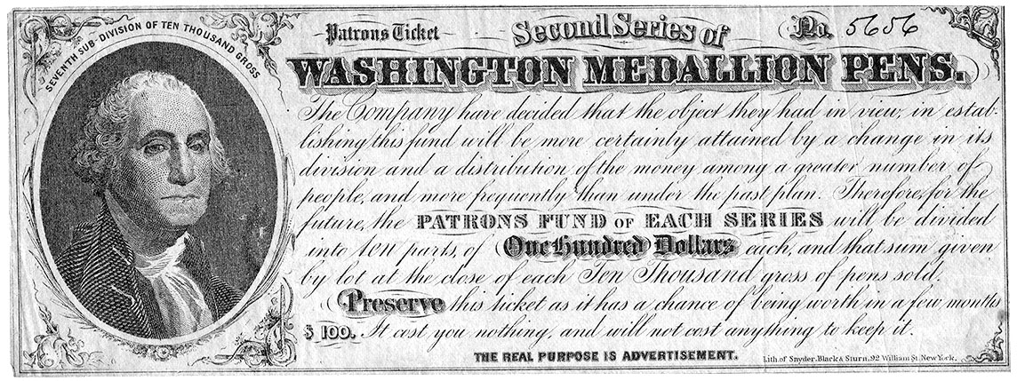Washington Medallion Pen Co. contest ticket, c. 1860's.
