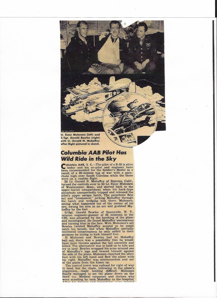 a 1942 news article showing a B25 with a Parachute billowing out the overhead escape hatch