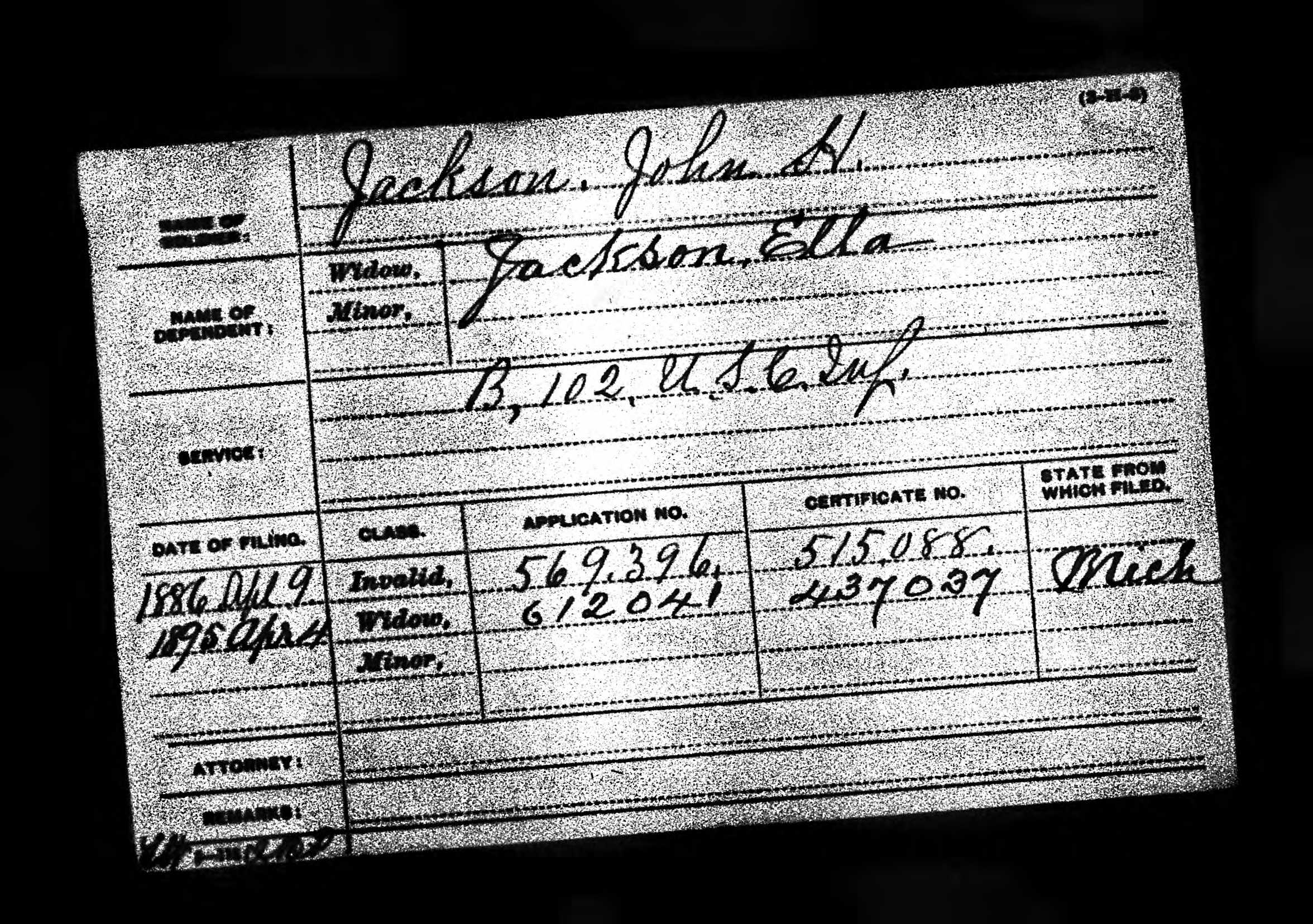Civil War pension form for John H Jackson