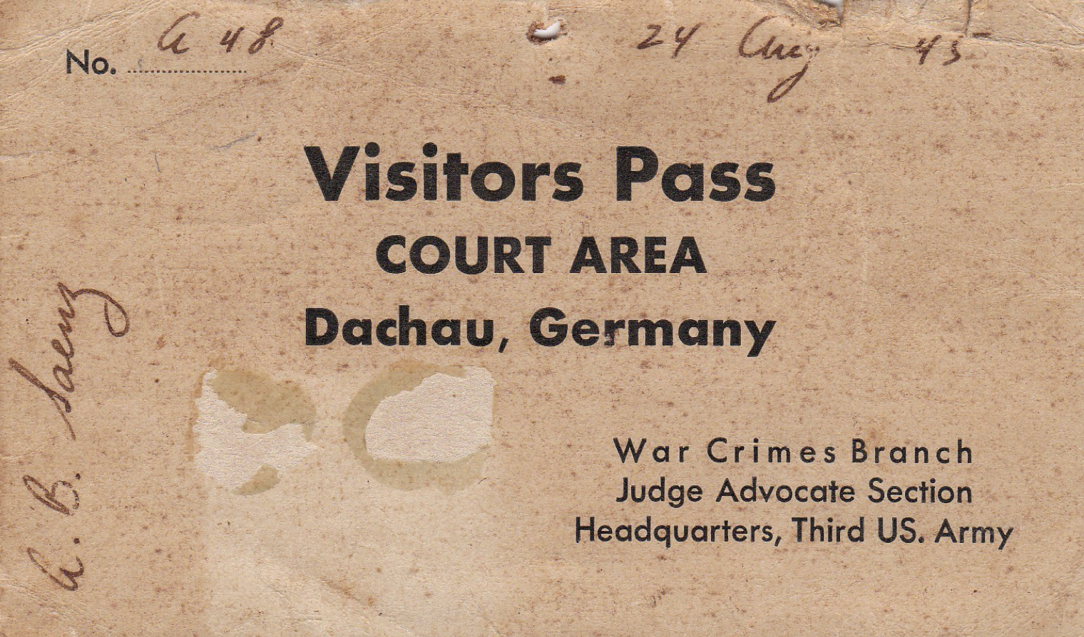 Visitors Pass Dachau Germany 24 Aug 1945