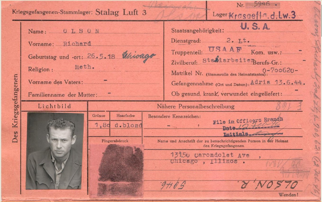 POW pink card for Richard Olson--Stalag Luft III 1944