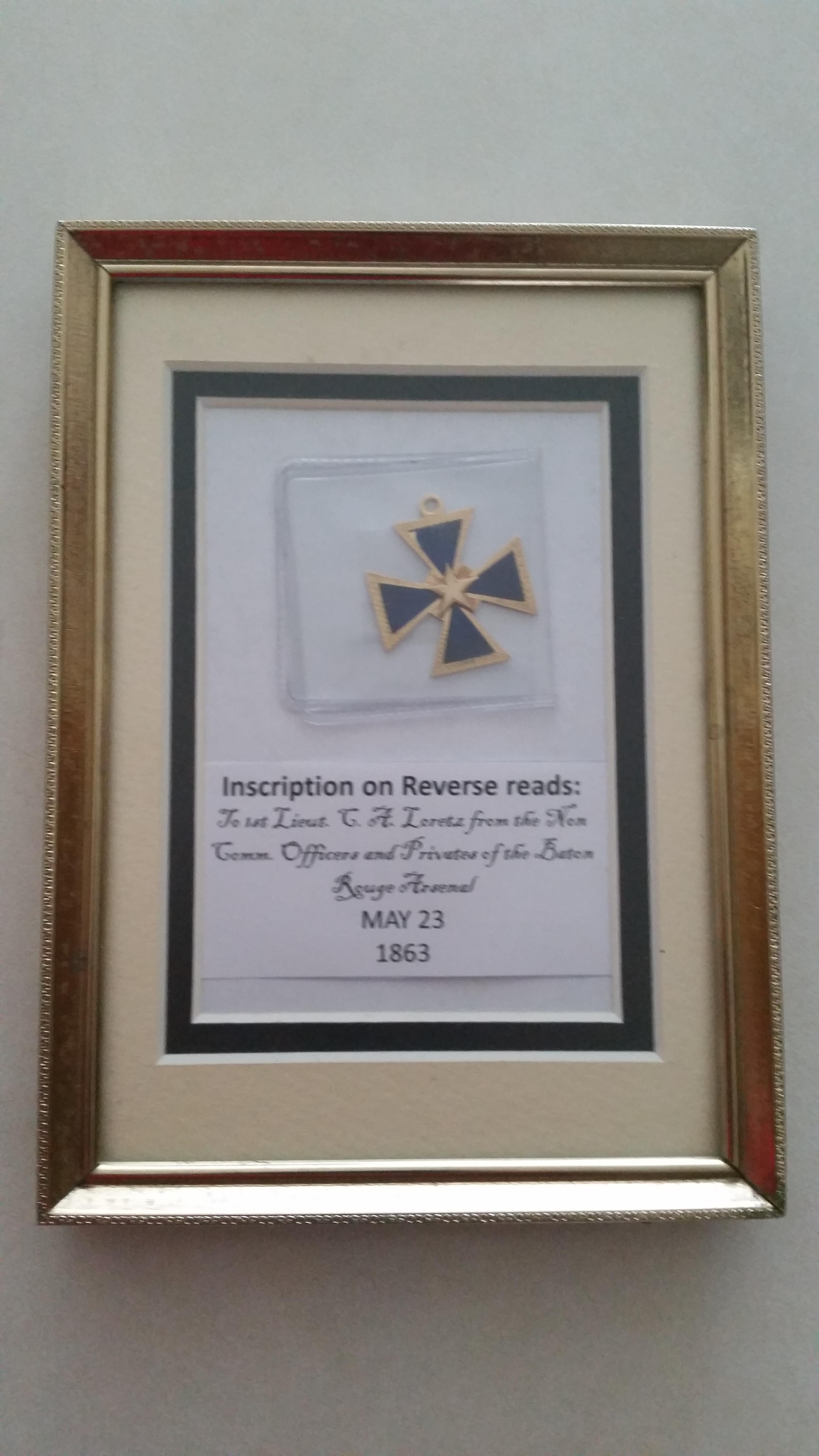 Medal that was presented to  1st LT C. A. Loretz