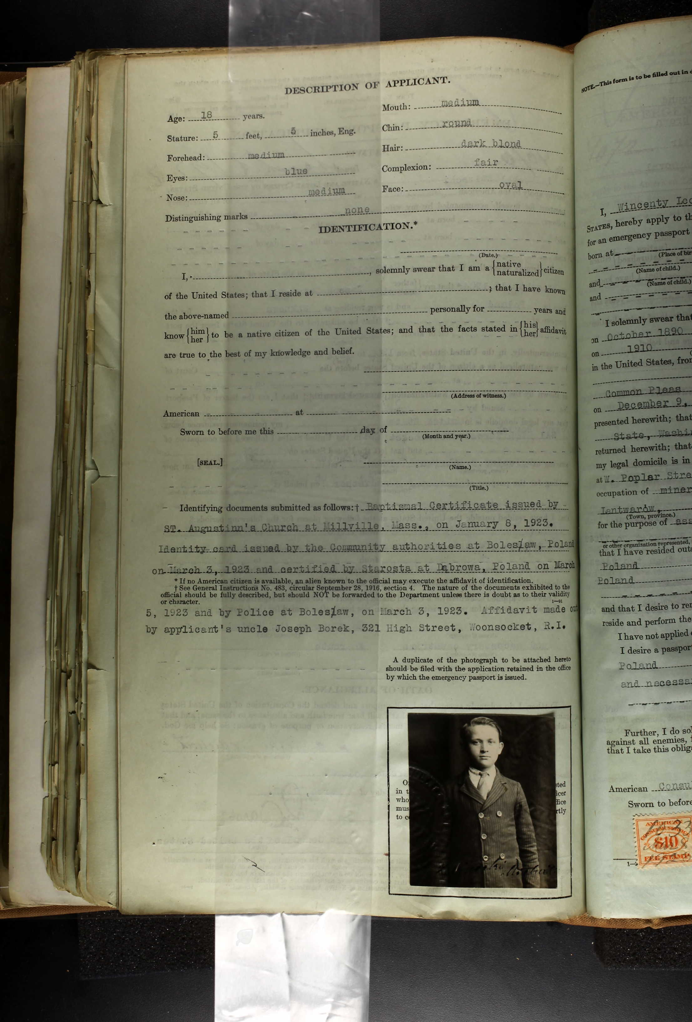 1923 US Passport Application - Michal Zwirecki Page 2