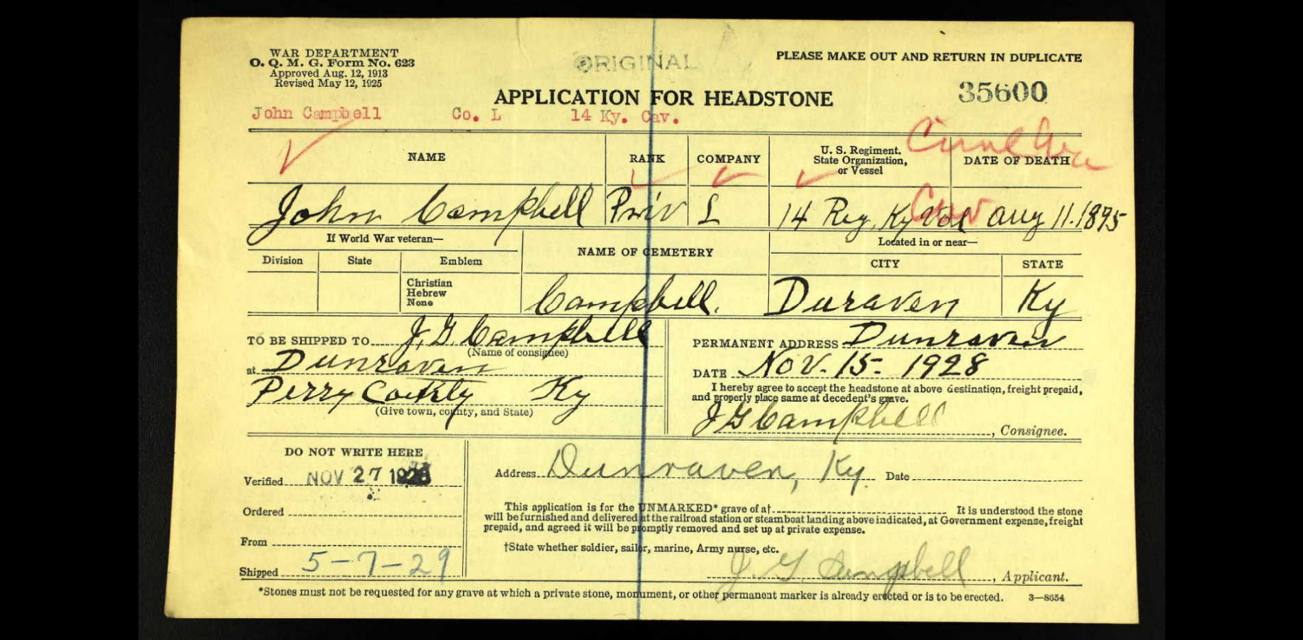 J. G. Campbell's request for a military headstone for his father John Campbell