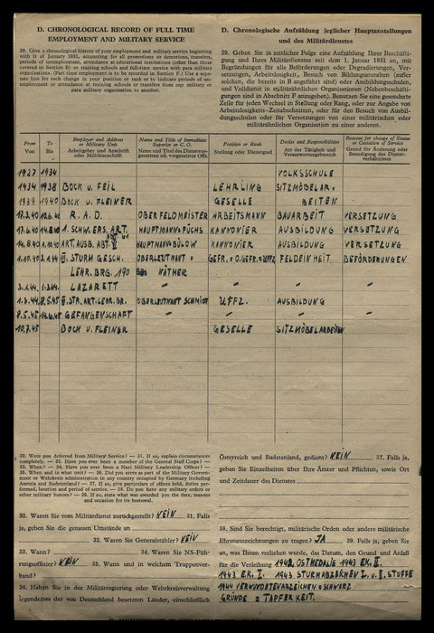 Military Service/Emplyment document for Paul Ernst Kaess
