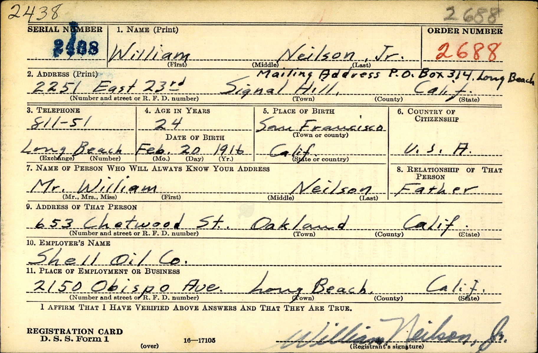 William Neilson Draft Registration Card