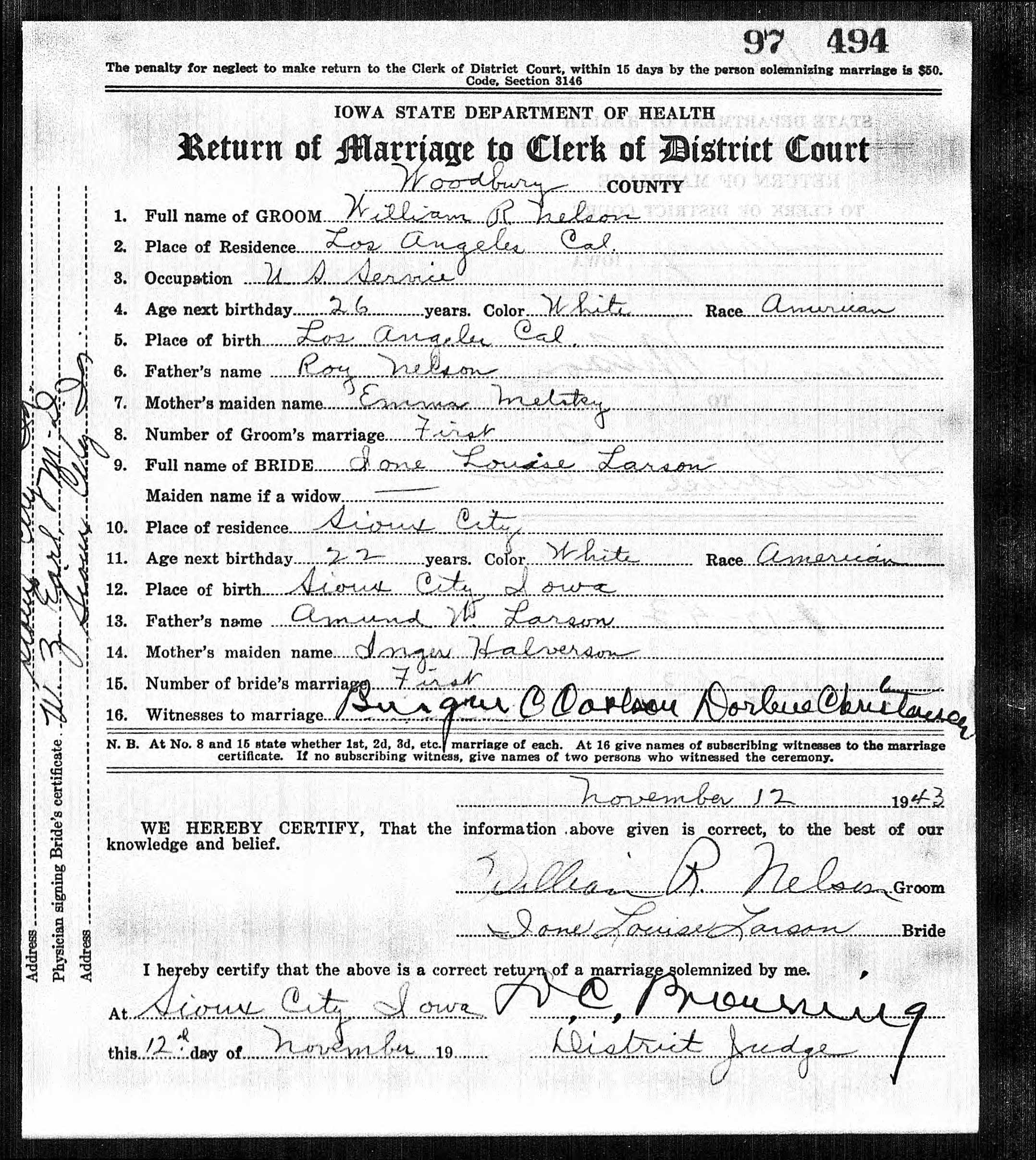 William Nelson and Ione Louise Larson Marriage License