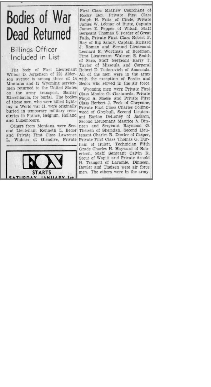 Newspaper clipping from The Billings Gazette, Dec 29, 1948, Page 2.