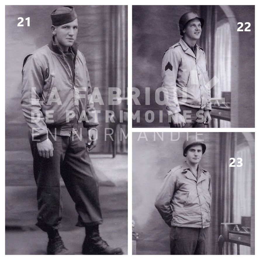 American soldiers photographed in 1944-1945 in Avranches (Normandy) by Armand Le Noan.