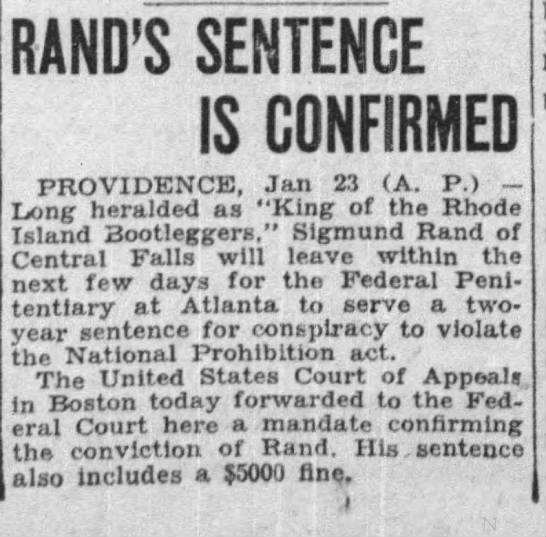 Rand is sentenced to Federal Prision