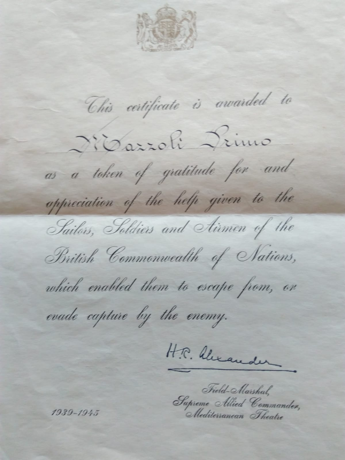 Certificate from Field Marshall of Allied Forces