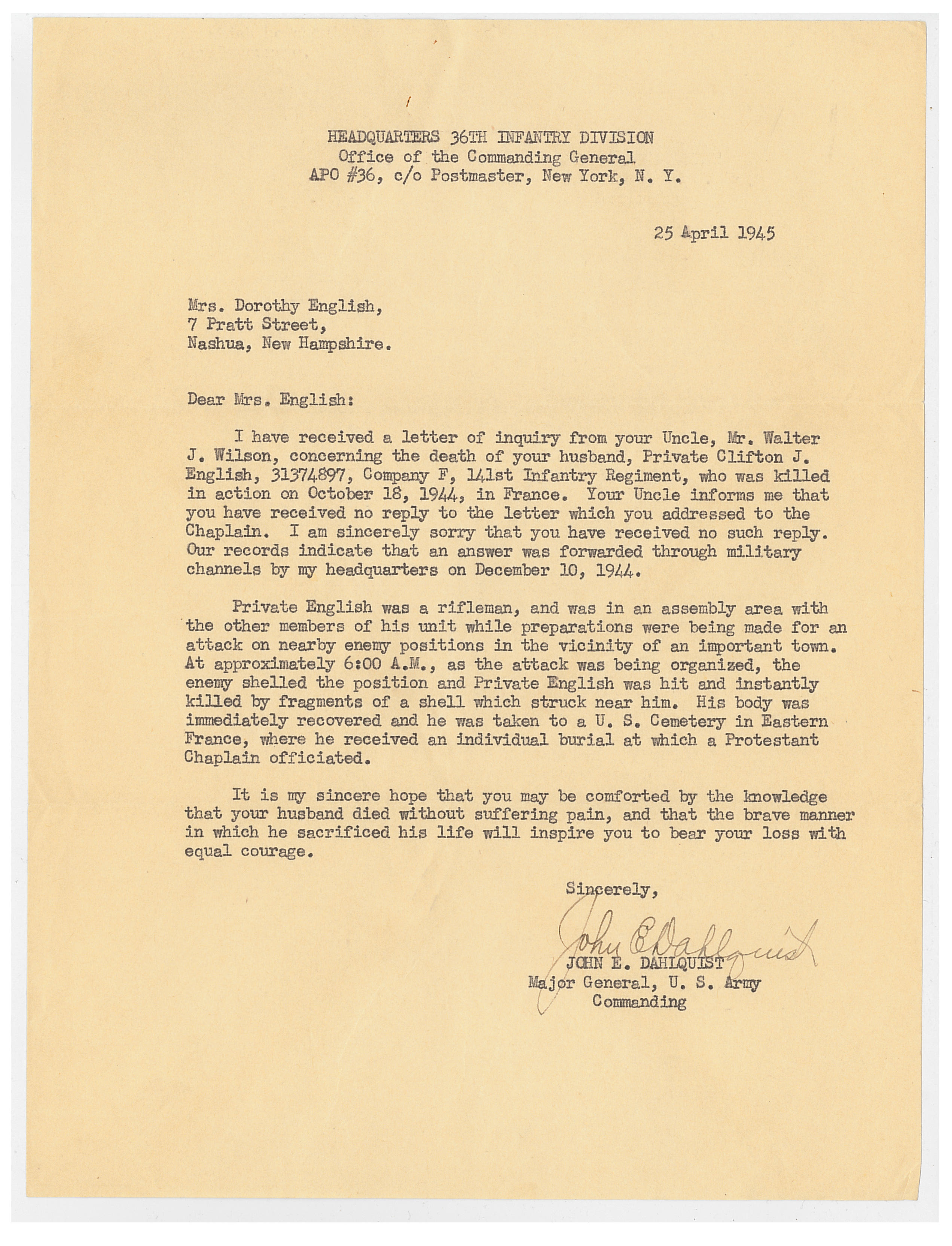 Letter from General Dahlquist