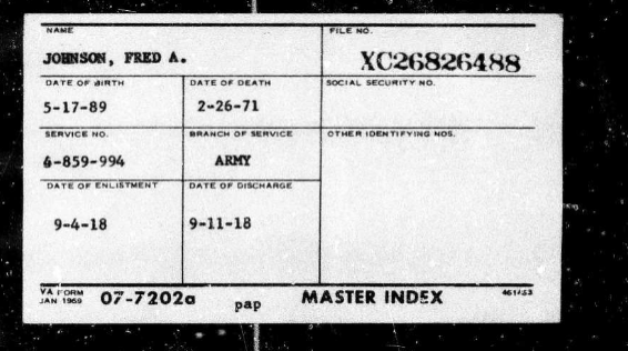 Master index card for Frank A Johnson