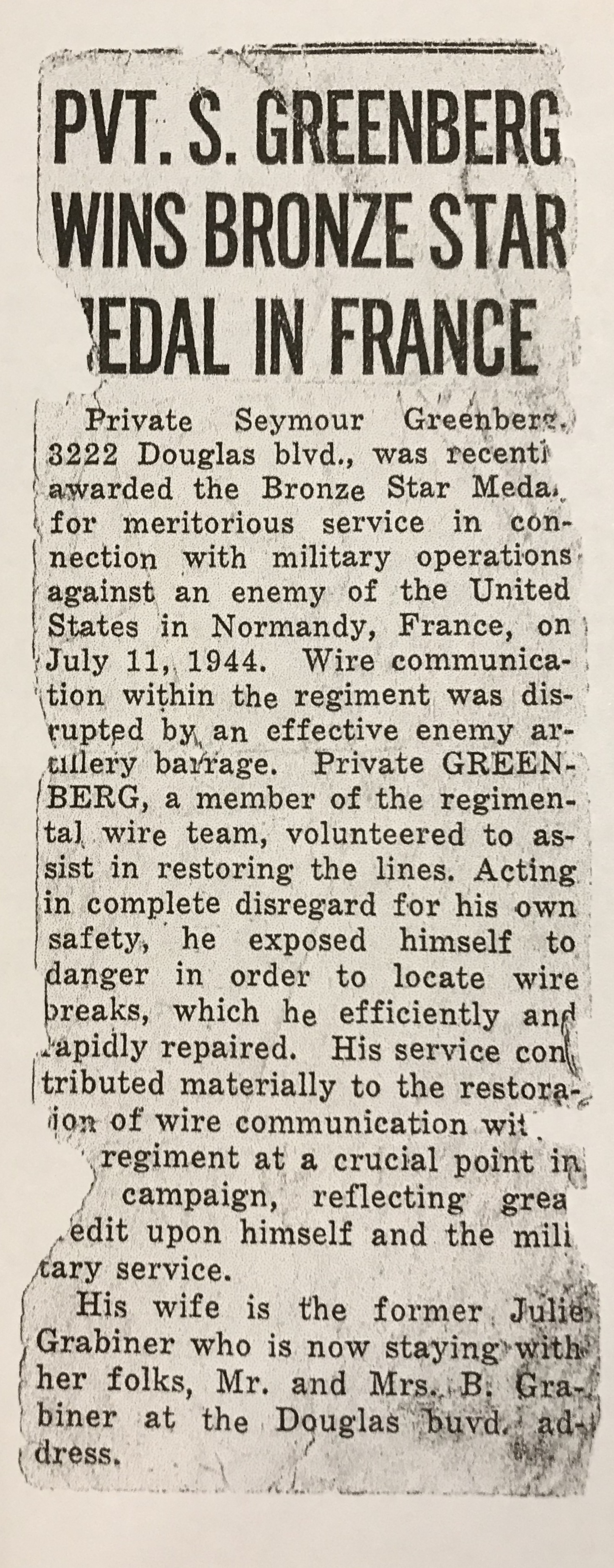 Article about the action he had on 7/11/1941