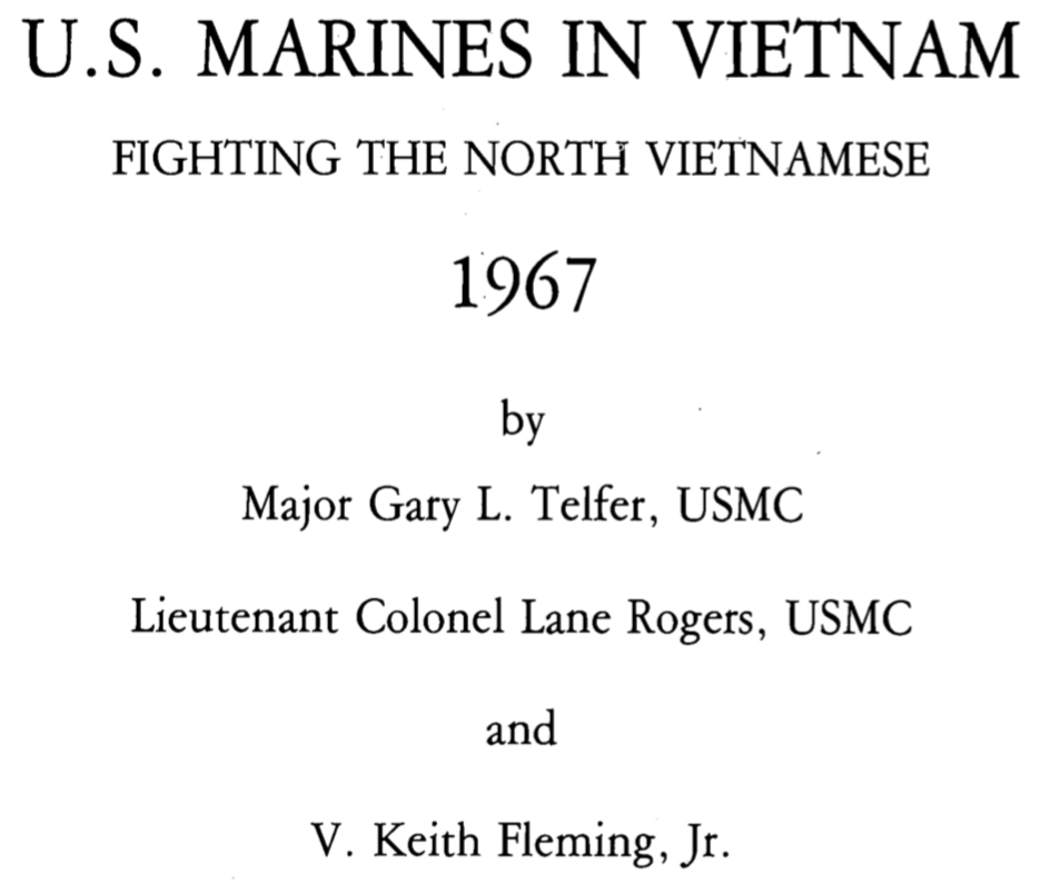 Cover page USMC VN War History 1967