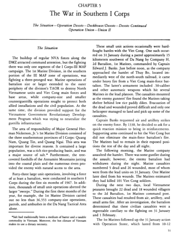 Extract from official USMC history in VN 1967 page 51, Thuy Bo incident
