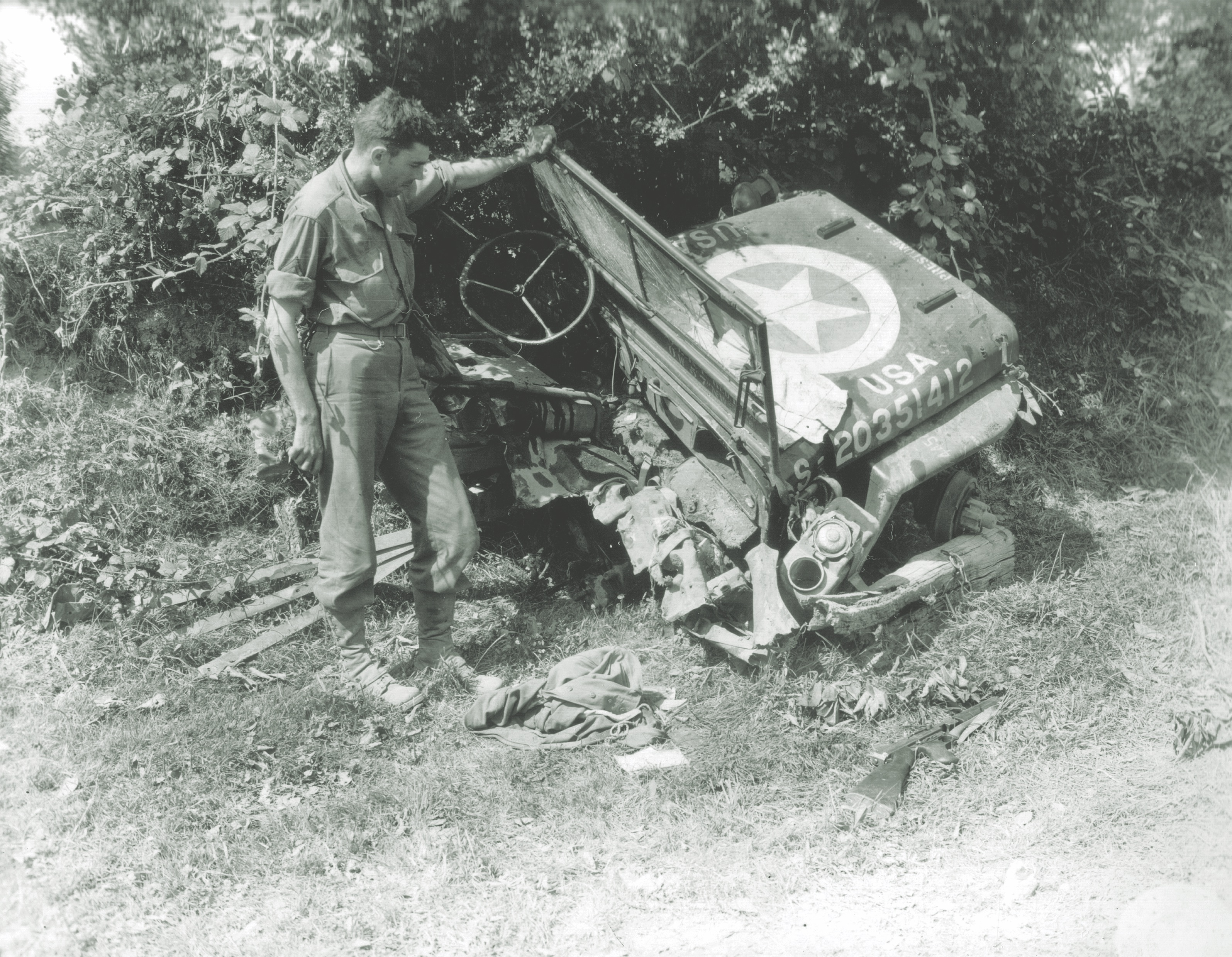 jeep wrecked by land mine