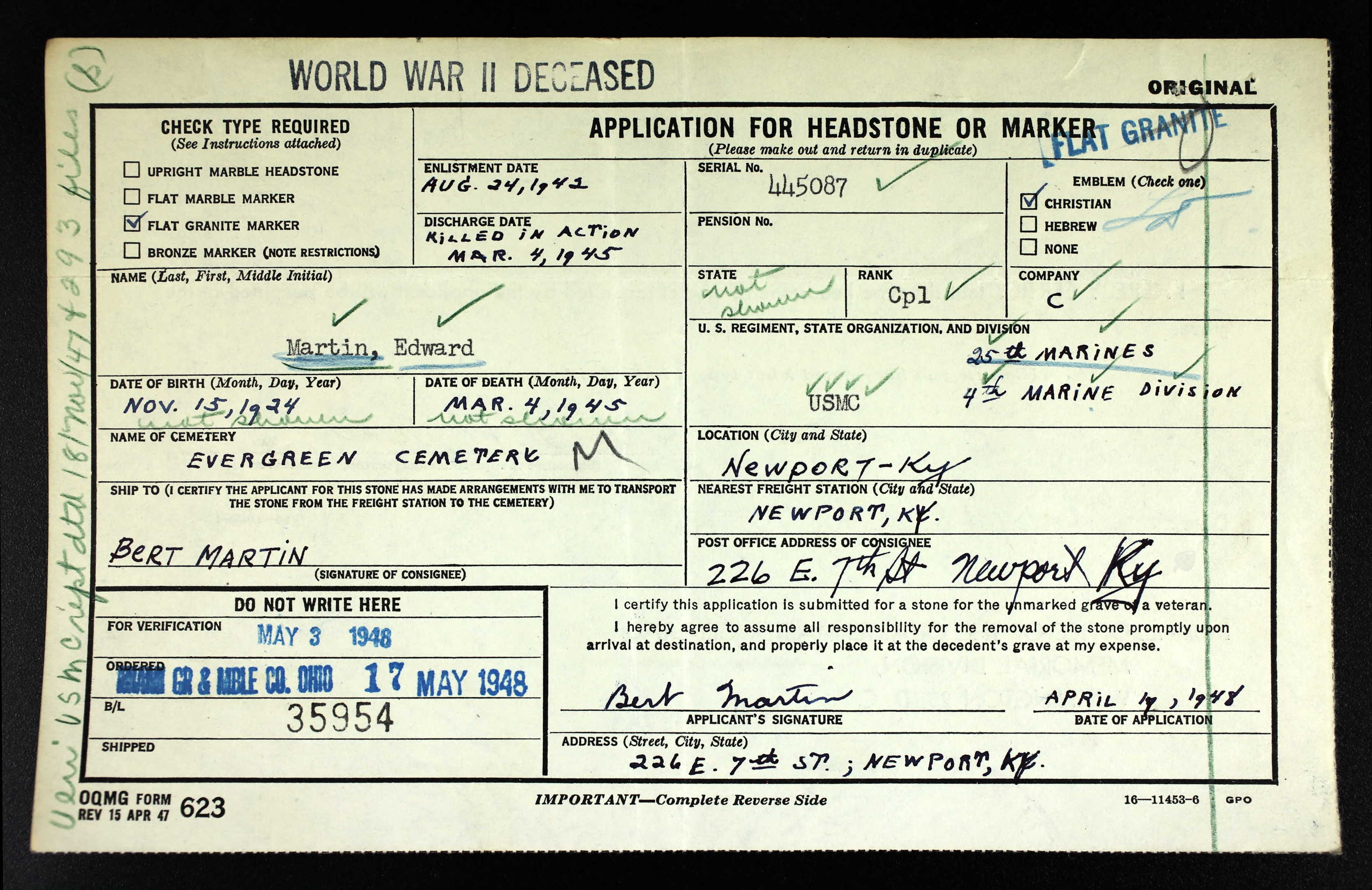 Edward Martin Application for Headstone or Marker