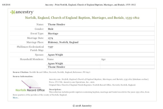 Thome Hendee Marriage to Agnes Wright 1574 in Ancestry.