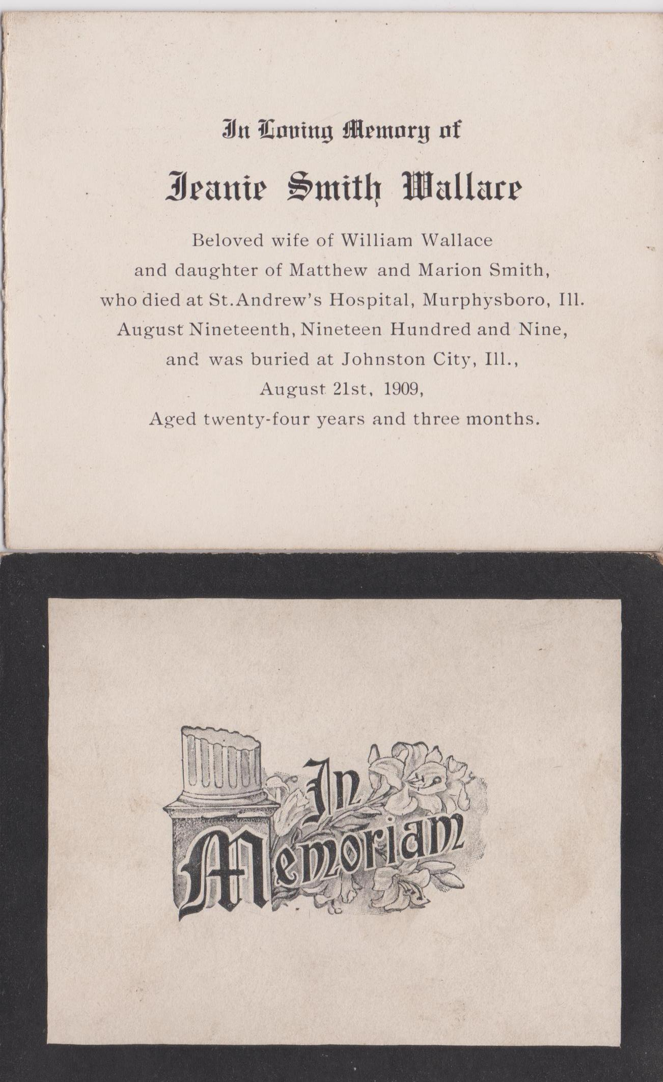 Memorial Card for Jeanie Wallace nee Smith