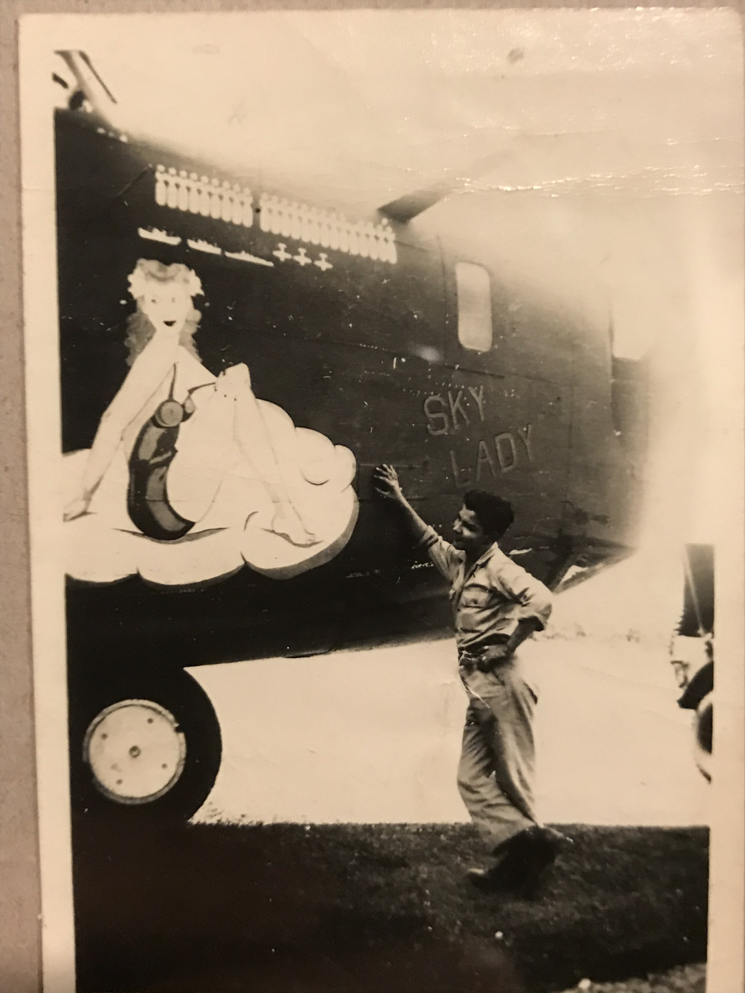 My grandfather Robert John Schele I standing next to a bomber I suspect he served on as a Sergeant 6th Emerg Raec Sq