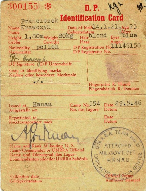 Displaced Persons Card - Forced Labor WWII