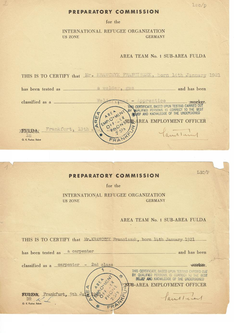 Carpenter and gas welder certificate