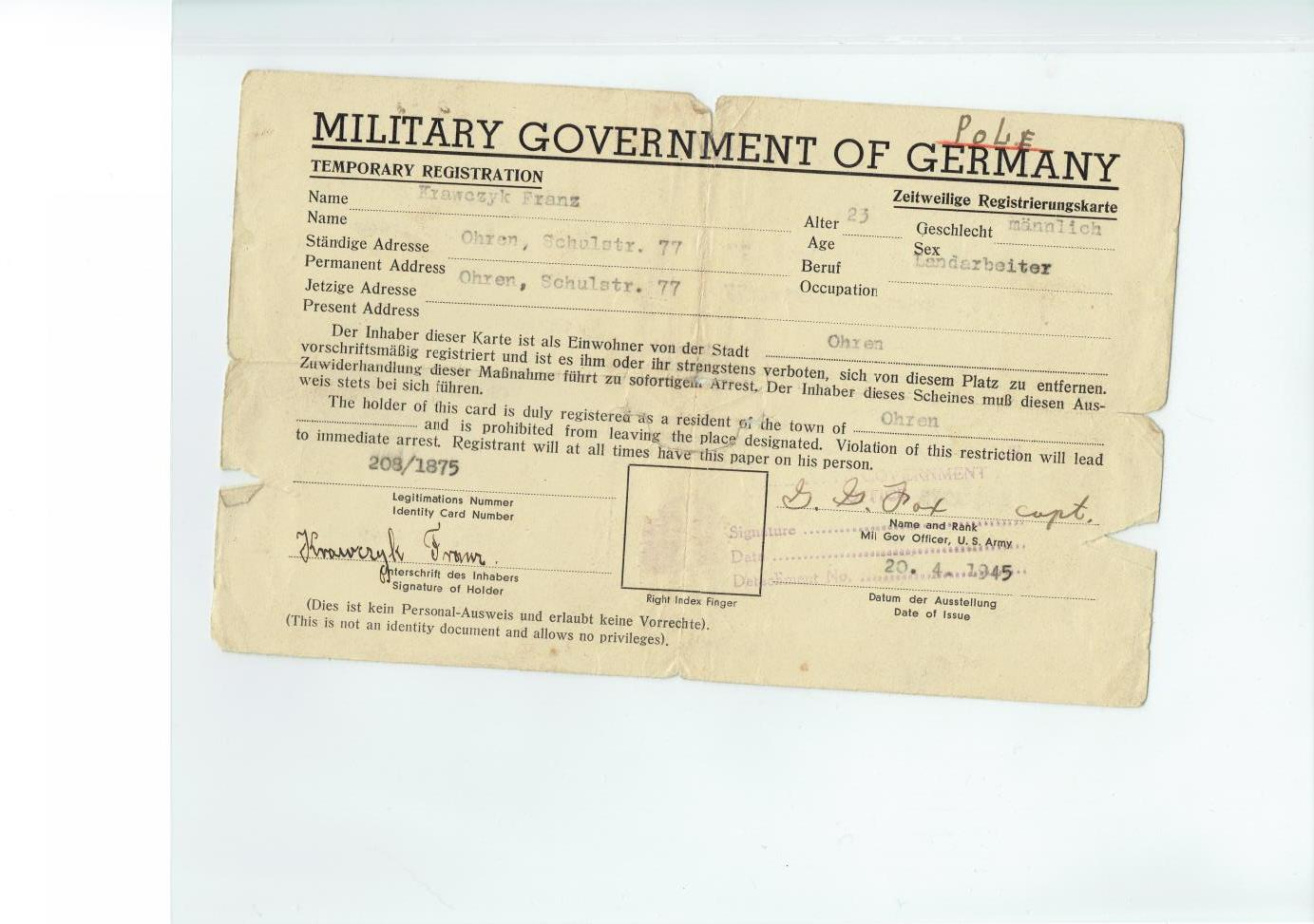 Military Gov't of Germany Temporary Registration side one