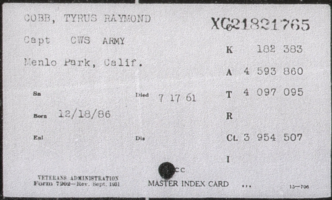 Cobb, Tyrus: VA Master Index - Prior Wars index card, scanned by jdeiss, St Louis, MO
