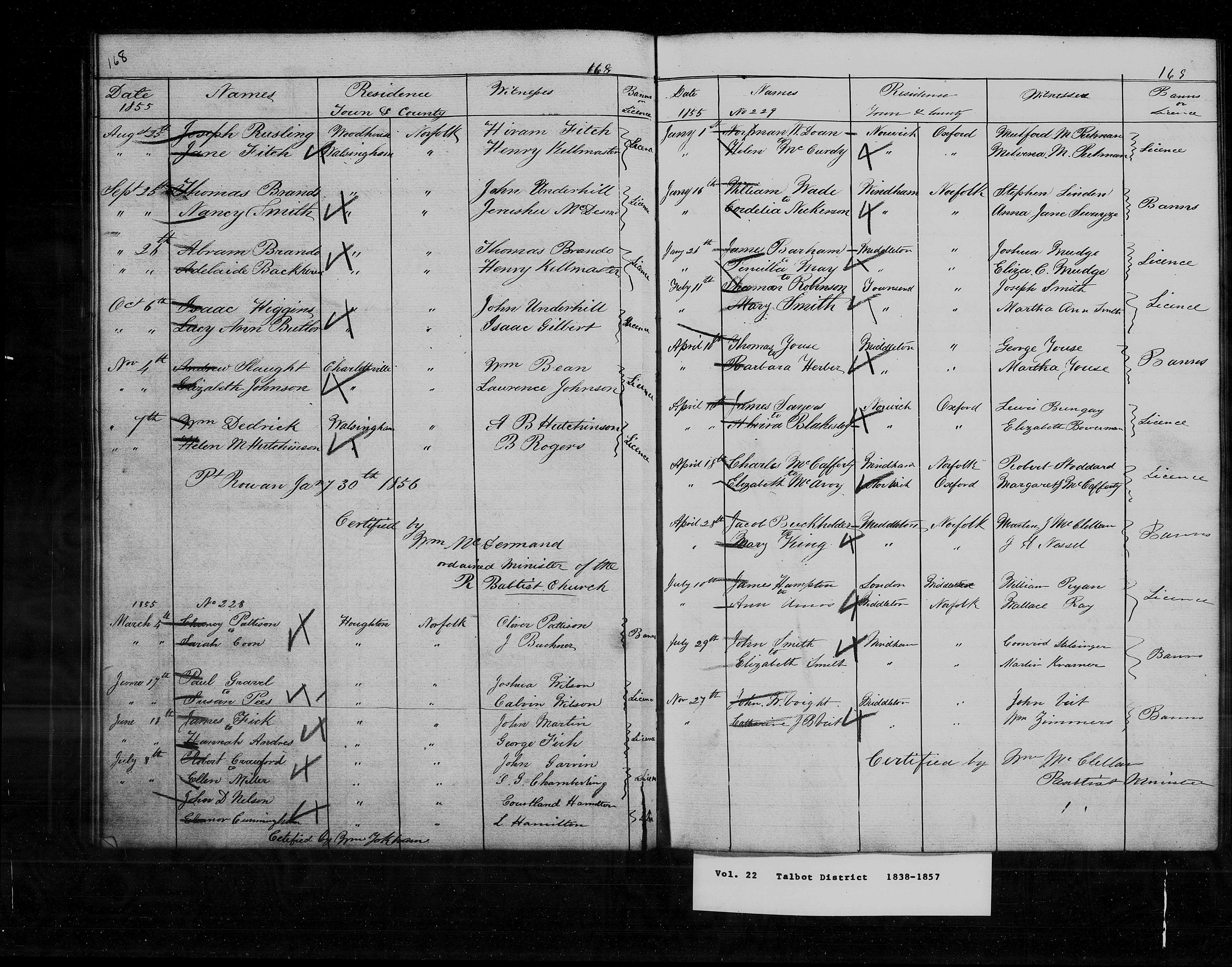 Marriage Registers showing his marriage to Elvira