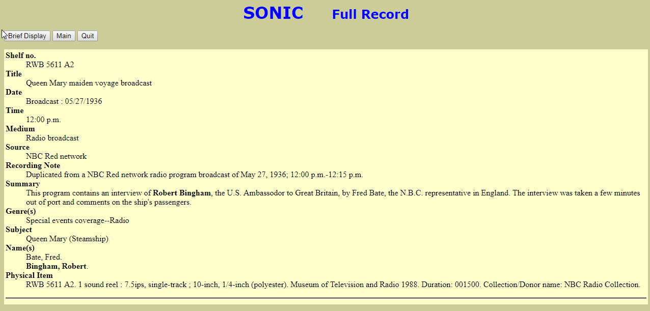 SONIC Catalog Record Robert Bingham Memorial Day Service
