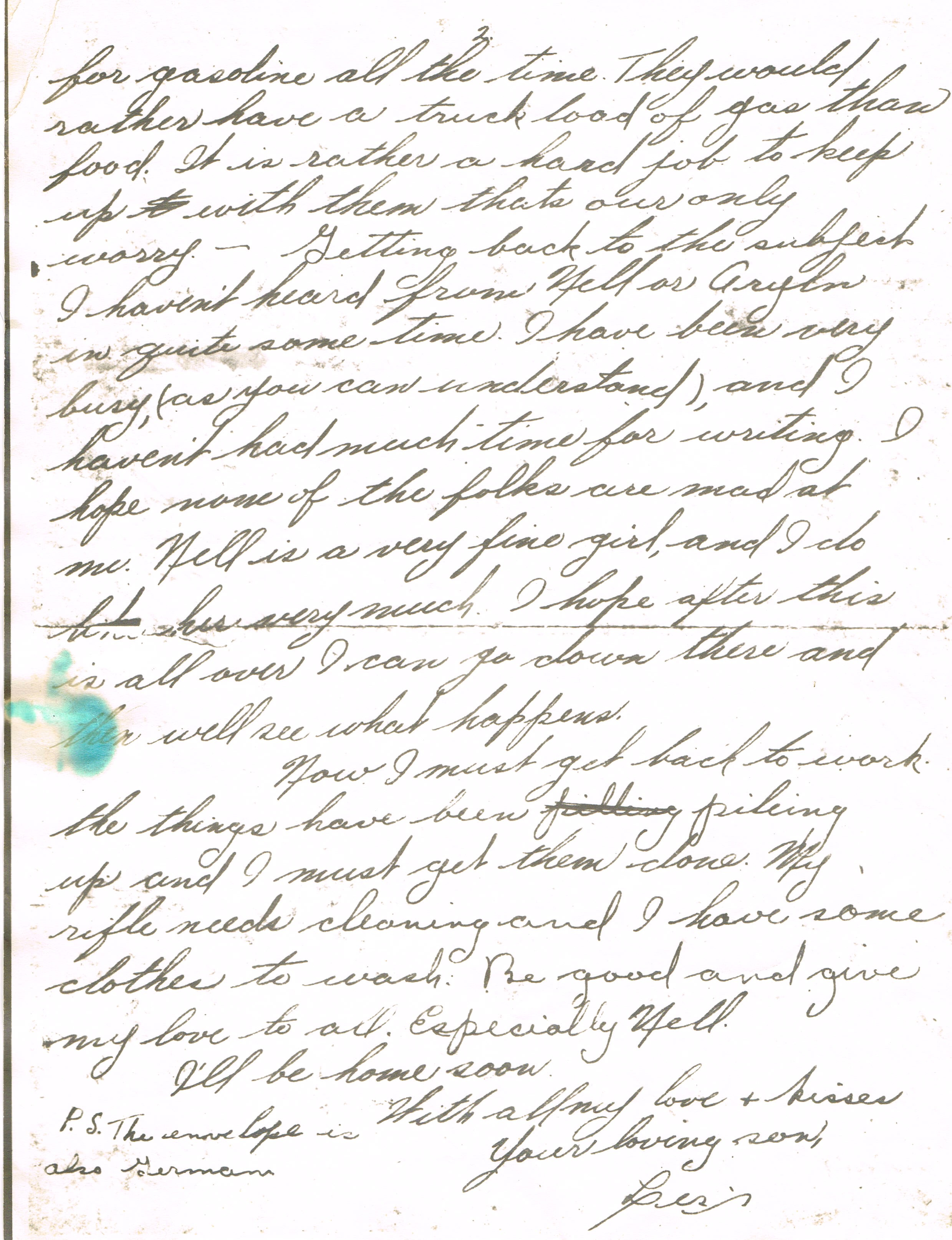 Last Letter from Uncle Leslie (Pg. 2)
