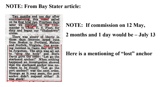 USS Massachusetts loses anchor Bay Stater article screenshot