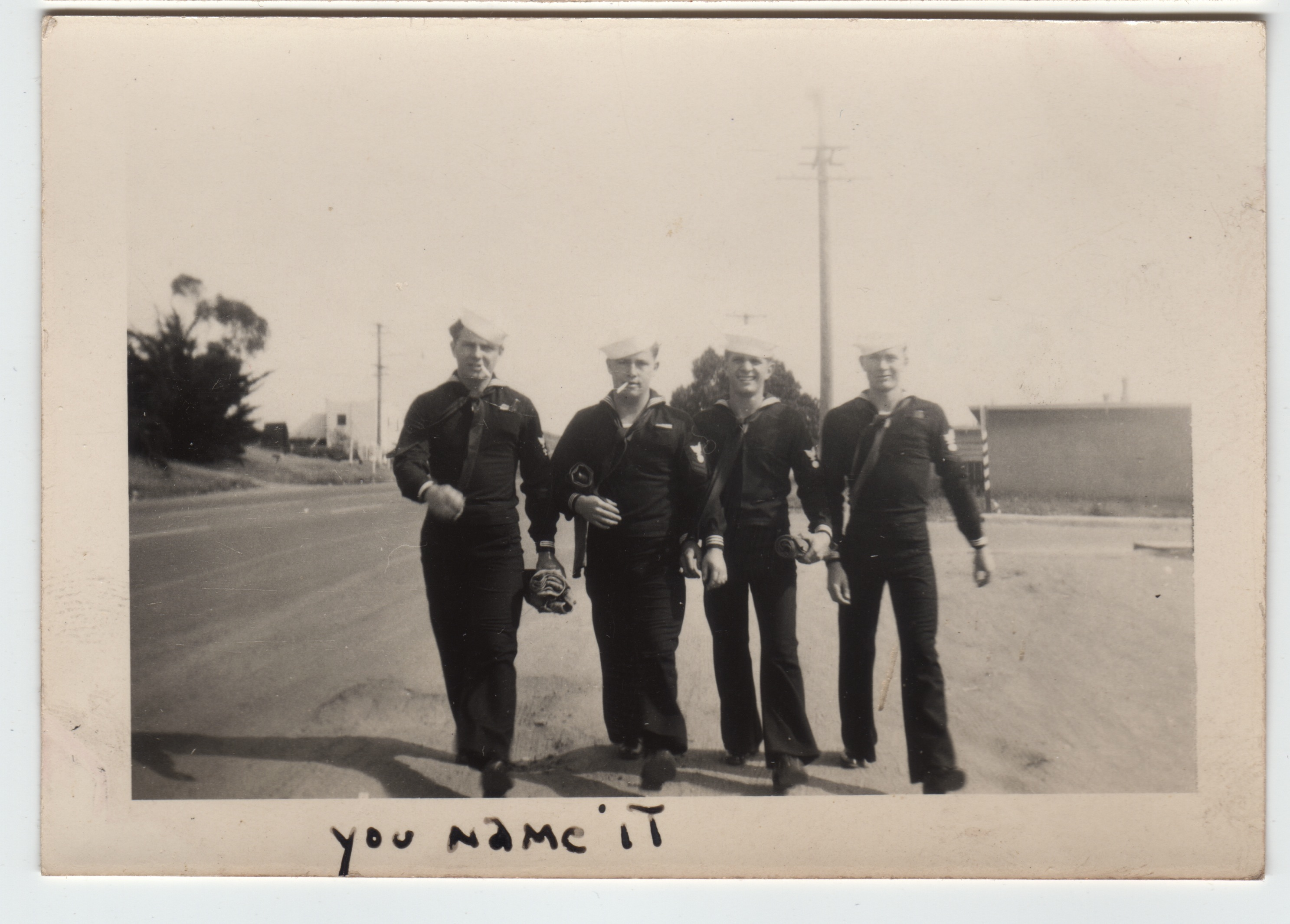 Navy men heading out in San Diego