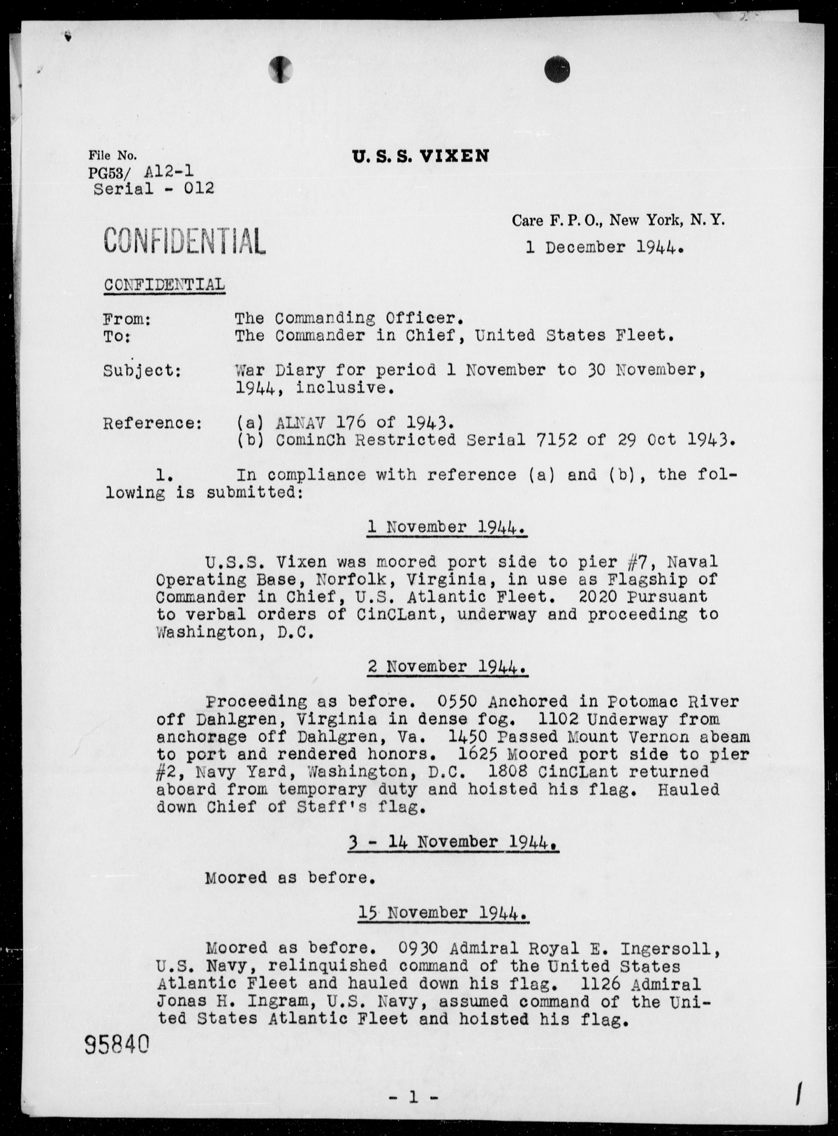 war diary of uss vixen