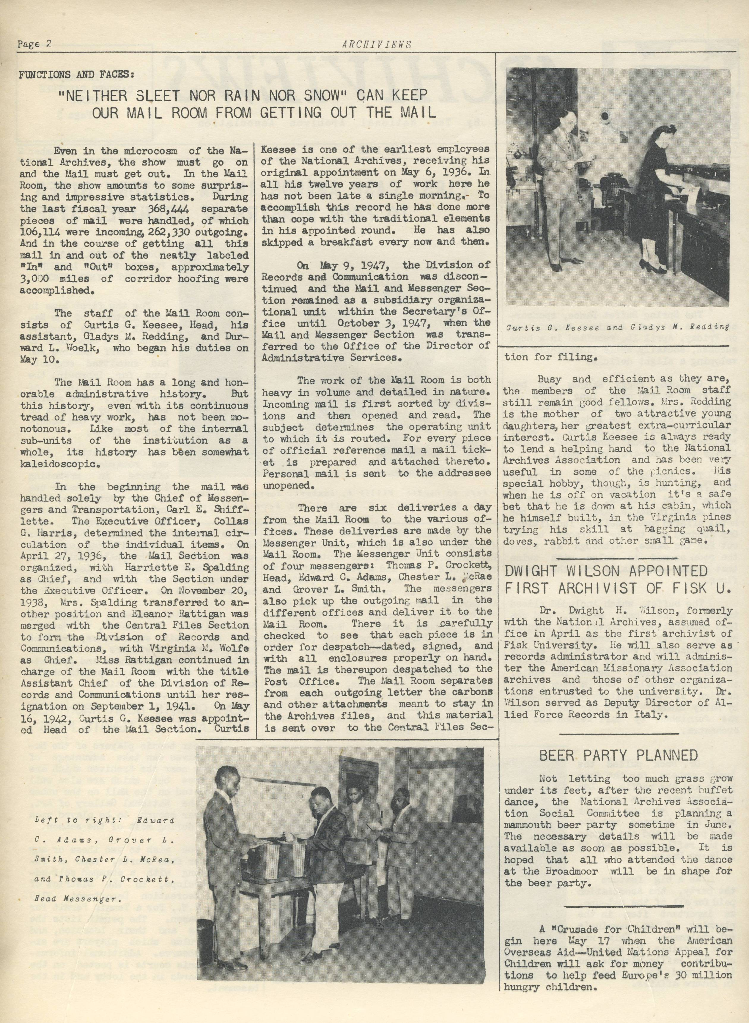 Archiviews, May 1948 - Story about Mail Room Staff.jpg