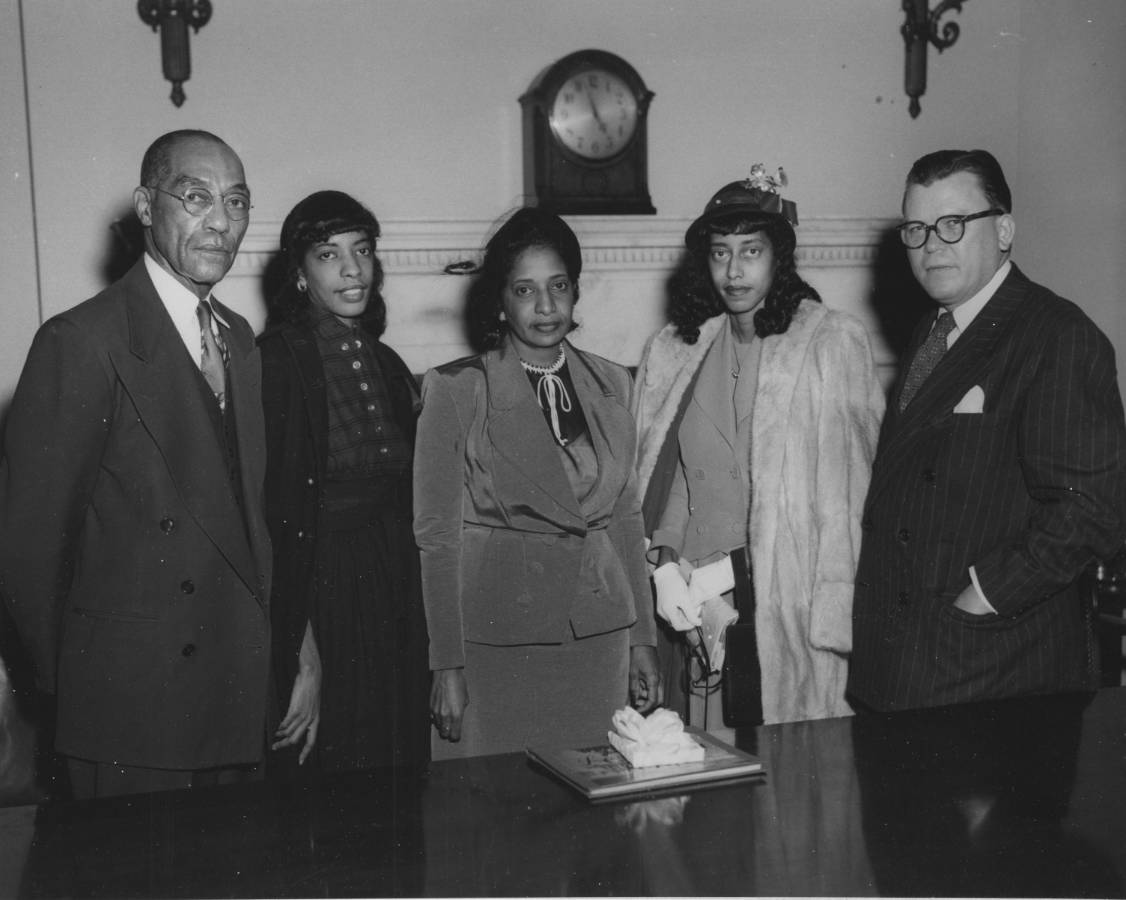 64-NA-1-139 Hiram O. Caldwell and Family with Dr. Grover, at His Retirement, Nov. 30, 1951.jpg