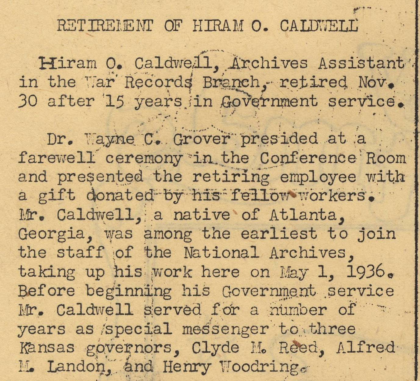 Archiviews, December 1951 - Retirement of Mr. Caldwell, p. 2.jpg